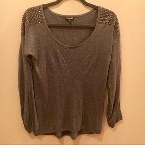 Express Gray Light Sweater Embellished Shoulders